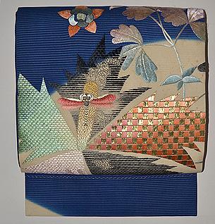 アールデコりんどうに蜻蛉の図絽刺繍名古屋帯