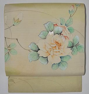 薔薇と桔梗の図名古屋帯