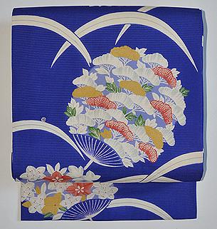 撫子桔梗団扇文絽名古屋帯