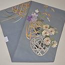花籠の刺繍単衣帯 前中心