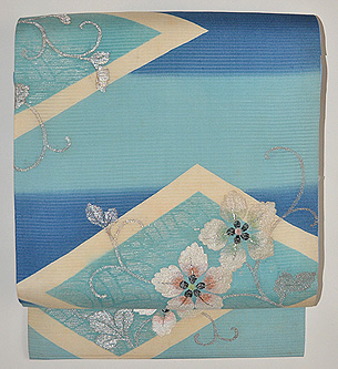 花籠の刺繍単衣帯