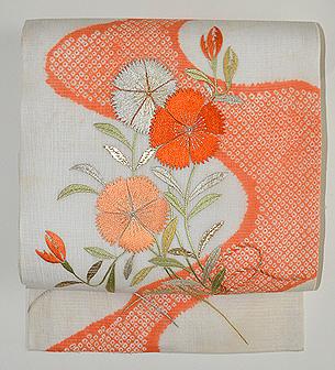 撫子に女郎花刺繍絽麻縮名古屋帯