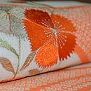 撫子に女郎花刺繍絽麻縮名古屋帯 質感・風合