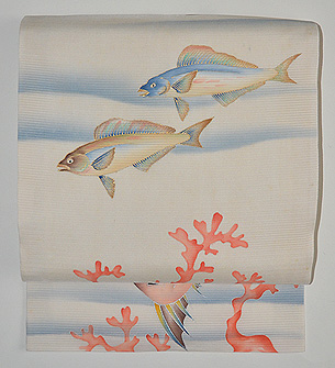 珊瑚に魚の図絽名古屋帯