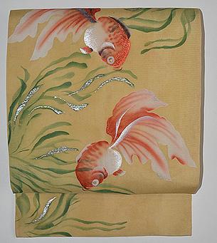 金魚に水草模様絽名古屋帯