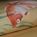 金魚に水草模様絽名古屋帯 質感・風合