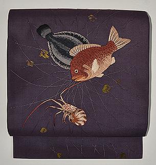 網に魚の図絽名古屋帯