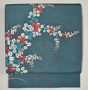 青地萩の刺繍名古屋帯