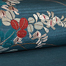 青地萩の刺繍名古屋帯 質感・風合