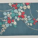 青地萩の刺繍名古屋帯 前中心