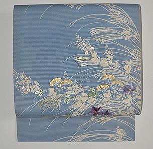 水色地秋草の名古屋帯