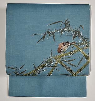 竹林の雀の図名古屋帯