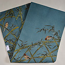竹林の雀の図名古屋帯 帯裏