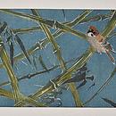 竹林の雀の図名古屋帯 前中心