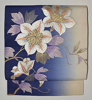 鉄線の刺繍名古屋帯