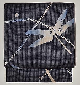 露草に蜻蛉の絞り風名古屋帯