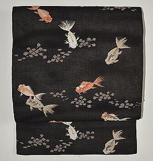 群れ金魚織名古屋帯