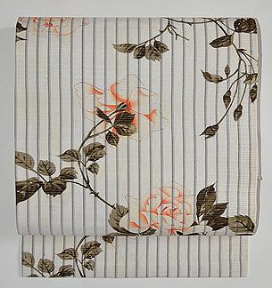 ボタニカルアート風薔薇の名古屋帯