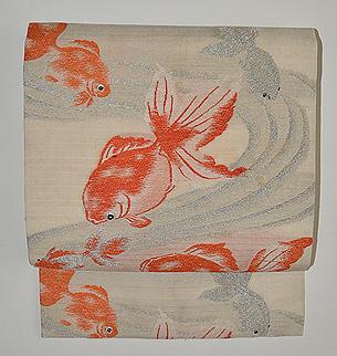 金魚の図織名古屋帯