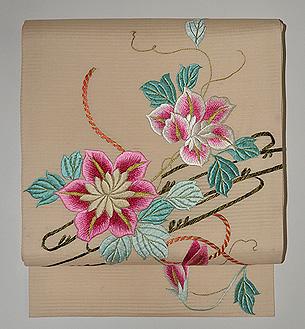 鉄線の花刺繍絽名古屋帯