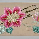 鉄線の花刺繍絽名古屋帯 前中心