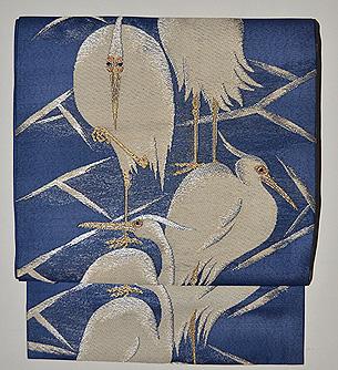 鷺の図名古屋帯