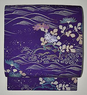 波に菊刺繍開き名古屋帯