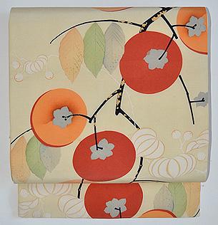 ほおずきに柿の図名古屋帯