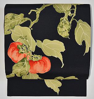 黒地柿の図染め名古屋帯