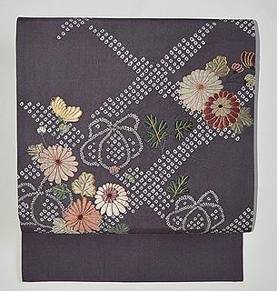 菊刺繍名古屋帯