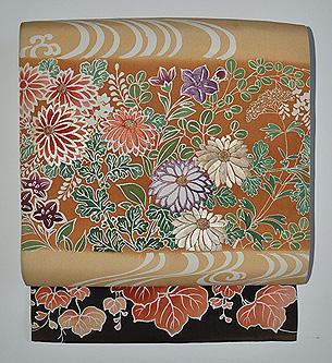 秋草の図刺繍名古屋帯