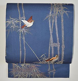 竹に雀の図織名古屋帯