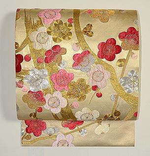 金駒梅刺繍袋帯
