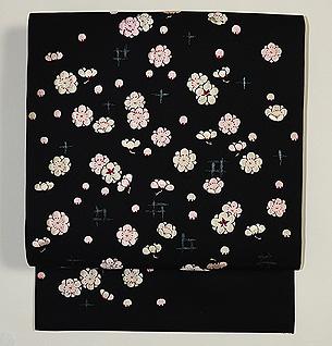 梅小花の刺繍名古屋帯