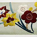 春秋の花の図名古屋帯  前中心