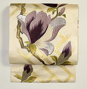 紫木蓮刺繍名古屋帯