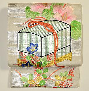 虫籠と秋草の刺繍袋帯