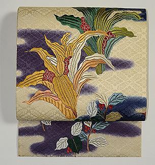 万年青(オモト)の刺繍名古屋帯