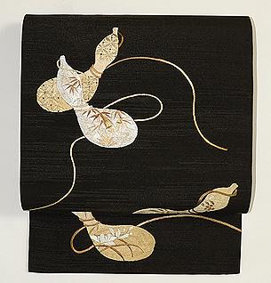 瓢箪の刺繍名古屋帯