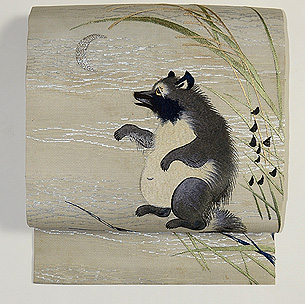 秋草に狸の図名古屋帯