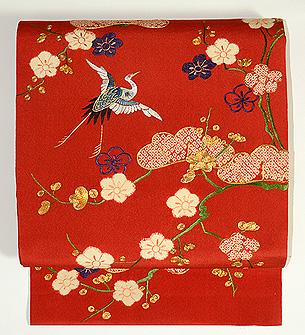 松梅に飛鶴文様袋帯