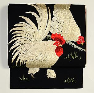 鶏とひよこの刺繍開き名古屋帯