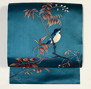 青い鳥の図名古屋帯