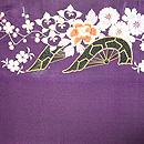 紫地花車の開き名古屋帯  前中心