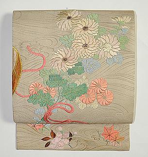 流水に束ね桜菊図開き名古屋帯