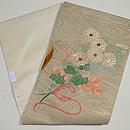 流水に束ね桜菊図開き名古屋帯  帯裏