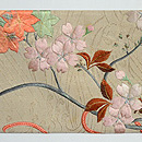 流水に束ね桜菊図開き名古屋帯  前中心