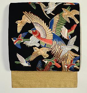 群れ鳥の綴れ袋帯