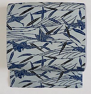 浦野理一作 絹紬地 葦に雁の図型染め名古屋帯