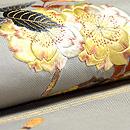 八重桜と春植物の図名古屋帯  質感・風合